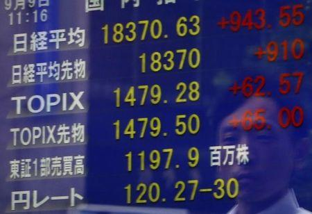 A pedestrian is reflected on a an electronic board showing the Japan's Nikkei average and other market indices including the exchange rate between the Japanese yen against the U.S. dollar at a brokerage in Tokyo