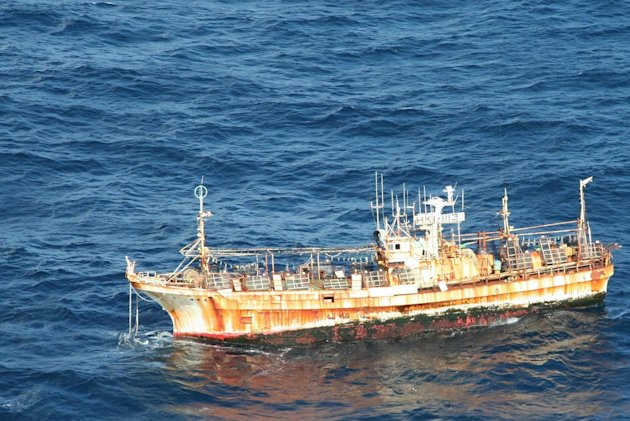 In this photo provided by the U.S. Coast Guard, the derelict Japanese fishing vessel RYOU-UN MARU drifts more than 125 miles from Forrester Island in southeast Alaska where it entered U.S. waters Marc