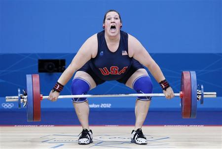 Sarah Robles of the U.S. competes in the women's +75kg group A weightlifting competition at the ExCel venue during the London 2012 Olympic Games