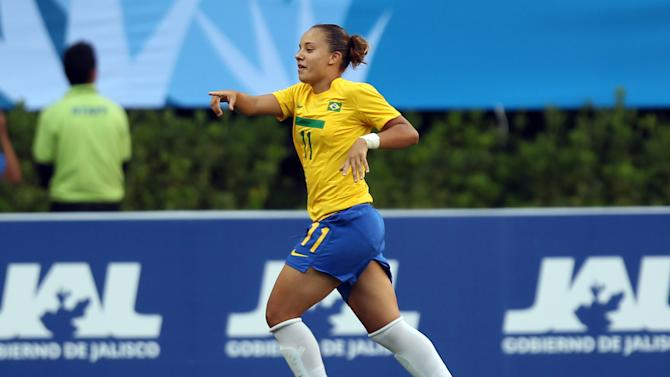 Brazil's Thais Guede celebrates after scoring during a women's soccer match against Costa Rica at the Pan American Games in Guadalajara, Mexico, Thursday, Oct. 20, 2011. (AP Photo/Juan Karita)