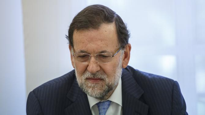 Spain's Prime Minister Rajoy meets with Swiss President Sommaruga at Moncloa Palace in Madrid
