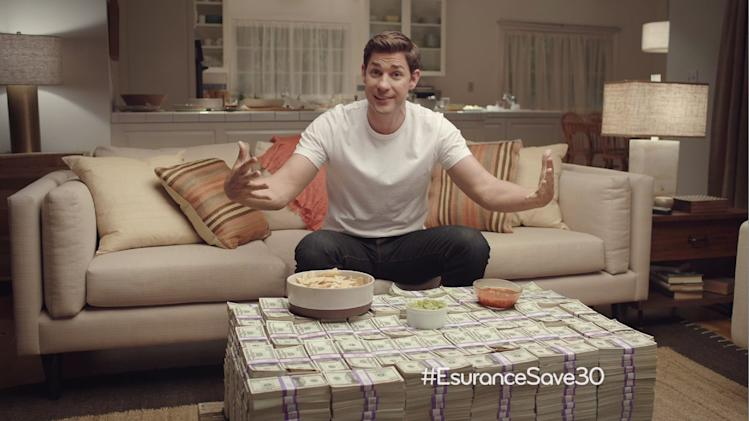 This undated image provided by Esurance shows the company's ad that aired just after the Super Bowl ended on Sunday, Feb. 2, 2014. The ad offered to give away $1.5 million. (AP Photo/Esurance)