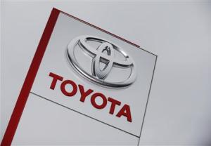 Toyota logo is seen at a dealership in Ruemlang