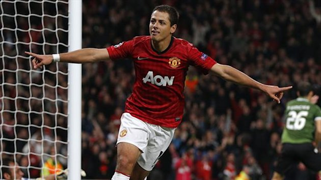 Manchester United&#39;s Javier Hernandez celebrates his second goal against Braga during their Champions League Group H match at Old Trafford in Manchester (Reuters)