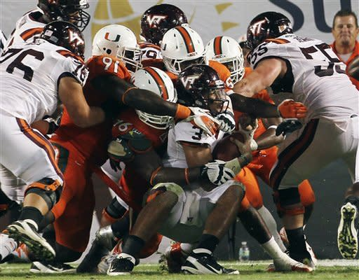 Miami takes Coastal lead, tops Virginia Tech 30-12