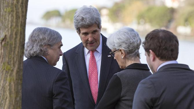 U.S. Secretary of State John Kerry, second left, meets with Energy Secretary Ernest Moniz, left, and Under Secretary of State for Political Affairs and nuclear negotiator Wendy Sherman, second right, before a meeting with Iranian Foreign Minister Mohammad Javad Zarif for a new round of nuclear negotiations Tuesday, March 3, 2015, in Montreux, Switzerland. (AP Photo/Evan Vucci, Pool)