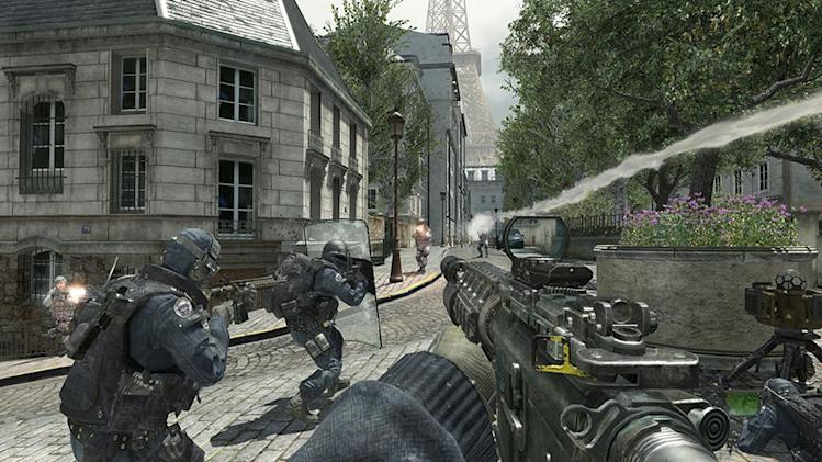 "FILE - In this file video game image released by Activision, special forces try to repel a Russian invasion of Paris in ""Call of Duty: Modern Warfare 3."" The world was reminded of this Thursday, April 19, 2012 when Anders Behring Breivik revealed to an Oslo court that the popular military game and the online role-playing game ""World of Warcraft"" helped condition him for his bombing and shooting rampage that left 77 people dead last summer in Oslo and at a Labor Party youth camp on Utoya island. (AP Photo/Activision, File)"