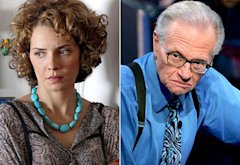 Mili Avital; Larry King  | Photo Credits: Hulu; Paul Hawthorne/Getty Images