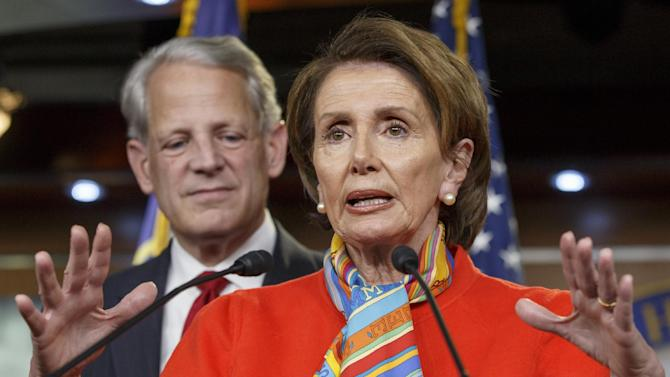 House Minority Leader Nancy Pelosi, D-Calif., joined at left by Rep. Steve Israel, D-N.Y