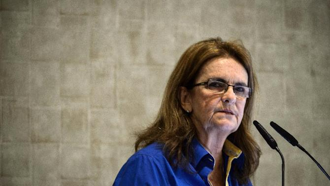 The president of Brazil's state oil giant Petrobras, Maria Graca Foster, speaks during a press conference at Petrobras headquaters in Rio de Janeiro on December 17, 2014