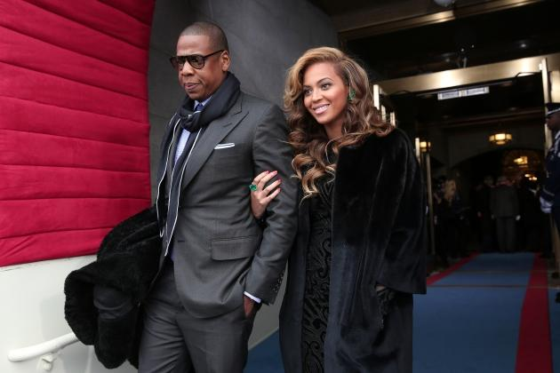Jay-Z and Beyonce arrive at the presidential inauguration on the West Front of the U.S. Capitol January 21, 2013 in Washington, DC -- Getty Premium