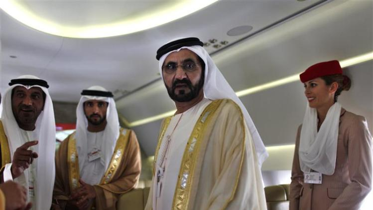 United Arab Emirates' Prime Minister and Ruler of Dubai Sheikh Mohammed takes a tour inside an Airbus A380 aircraft during the Dubai Airshow