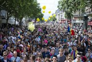 People parade during the 12th edition of the homosexual, lesbian, bisexual and transgender (HLBT) visibility march, the Gay Pride, in Paris. France&#39;s new Socialist government is to legalize marriage and adoption for same-sex couples, Prime Minister Jean-Marc Ayrault said on June 29