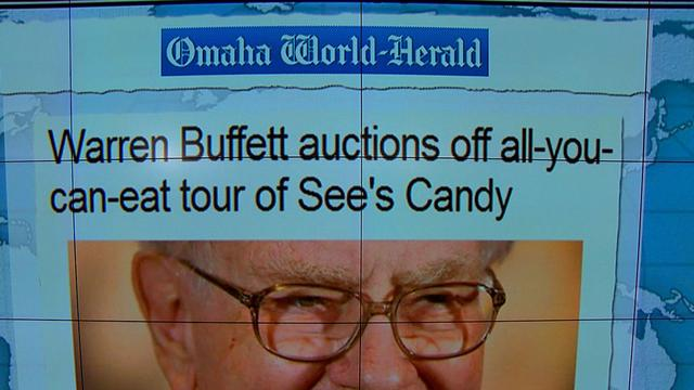 "Headlines at 8:30: Buffett auctions off ""all-you-can-eat"" tour of See's Candy Factory"