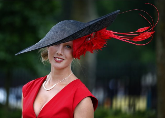 Racegoer Louise Black arrives for Ladies' Day at the Royal Ascot horse racing festival at Ascot