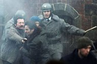 "Polish actor Robert Wieckiewicz (L) during the filming of a scene in the movie ""Walesa"" in the streets of Gdansk. ""Walesa"" is a biopic about Lech Walesa, the communist-era Solidarity opposition leader who left an indelible mark on world history by helping bring down the Iron Curtain"