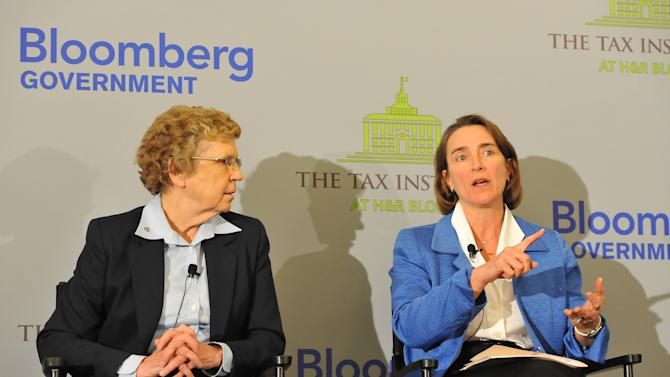 Sister Carol Keehan, left, listens as former Sen. Blanche Lincoln (D-Ark.) speaks at an event on the tax implications of health care reform, on Friday, February 15, 2013 in Washington, DC. The event kicked of a multi-city engagement tour hosted by The Tax Institute at H&R Block examining the effects of the Affordable Care Act on consumers, small businesses and the uninsured. (Photo by Larry French/AP Images for The Tax Institute at H&R Block)