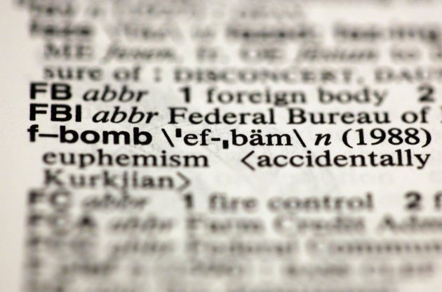 "The entry ""f-bomb,"" photographed in New York, Friday, Aug. 10, 2012, is one of the 15 new additions in the 11th edition of Merriam-Webster's Collegiate Dictionary. (AP Photo/Richard Drew)"