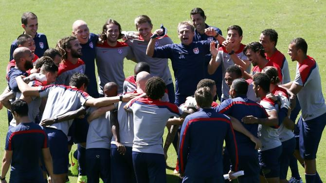 U.S. coach Klinsmann gestures as his team gathers during a training session ahead of their 2014 World Cup round of 16 match against Belgium in Salvador