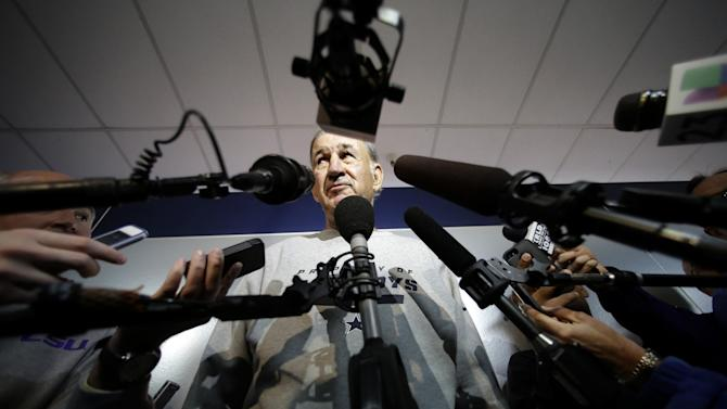 Dallas Cowboys defensive coordinator Monte Kiffin listens to a reporter's question during an NFL football news conference at the team's training facility Thursday, Feb. 14, 2013, in Irving, Texas. Kiffin is about to turn 73 and has been out of the NFL for five years. The Cowboys are thinking more about his history of success at Tampa Bay and how a switch to Kiffin's 4-3 alignment will translate into fewer mistakes and more turnovers. (AP Photo/Tony Gutierrez)