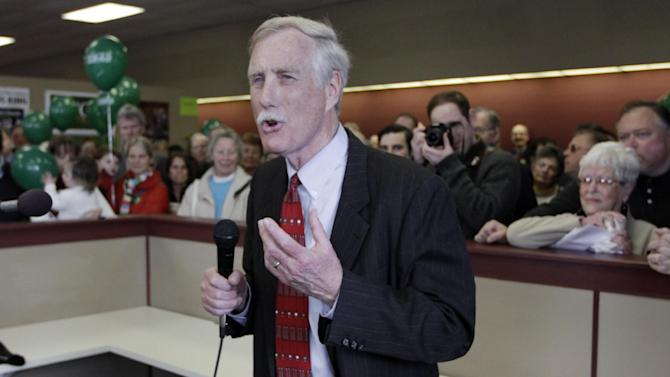 In this April 9, 2012, photo, Angus King, independent candidate for the U. S. Senate, speaks to supporters as he officially opens his campaign office in Brunswick, Maine. King has a woman problem. He's not one. The popular former governor is the undisputed front-runner in the campaign to replace retiring Republican Sen. Olympia Snowe, the state's most powerful female voice in a generation. But beneath the 68-year-old businessman's popularity is a stark political reality: For many Maine women, King is not their first choice. And this election, perhaps more than any other, underscores the sometimes conflicting priorities for a Democratic Party struggling to beat back a Republican takeover of the Senate. (AP Photo/Pat Wellenbach)