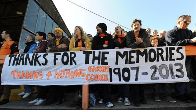 Barnet fans attend the final match at Underhill (Getty Images)