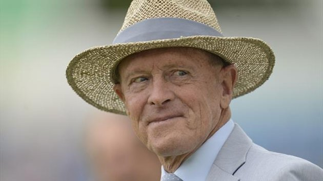 Former cricketer Geoffrey Boycott looks on during a lunchtime presentation (Reuters)