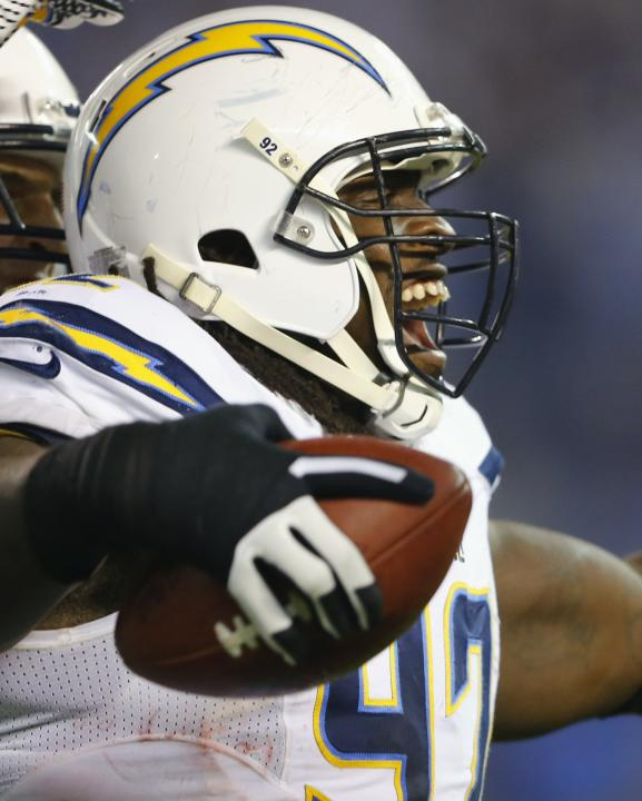 San Diego Chargers First Game: San Diego Chargers Nose Tackle Cam Thomas Celebrates His