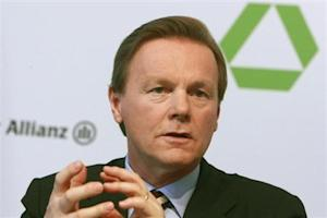 Dresdner Bank CEO Walter gestures during the annual news conference in Frankfurt