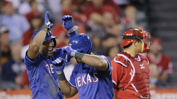 Rangers steal 7 bases in rout of Angels