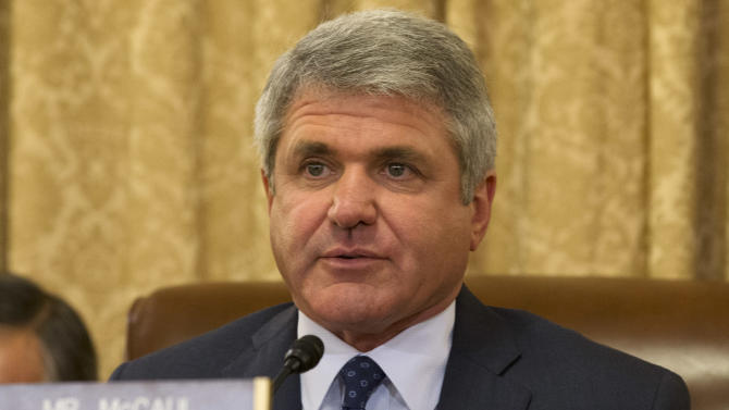 House Homeland Security Committee Chairman Rep. Michael McCaul, R-Texas, asks a questions on Capitol Hill in Washington, Wednesday, April 9, 2014, during the committee's hearing about the Boston Marathon Bombings leading up to the year anniversary of the attack. (AP Photo/Jacquelyn Martin)