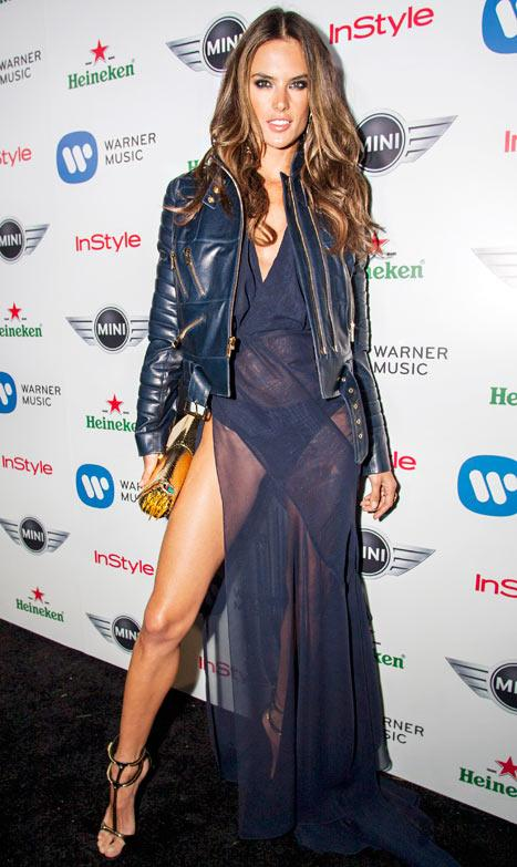 Alessandra Ambrosio Flashes Underwear in Sheer Dress at Grammys Party