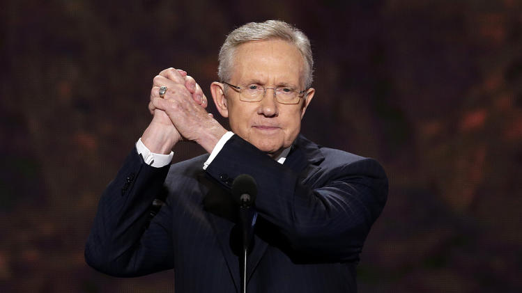 Senate Majority Leader Harry Reid of Nevada addresses the Democratic National Convention in Charlotte, N.C., on Tuesday, Sept. 4, 2012. (AP Photo/J. Scott Applewhite)