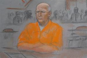 """A courtroom artist's sketch shows convicted mobster James """"Whitey"""" Bulger in federal court during the first of two days of his sentencing hearing in Boston"""