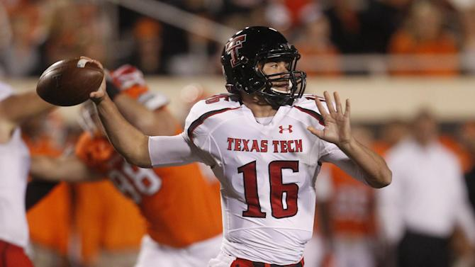 Texas Tech Michael Brewer passes against Oklahoma State during an NCAA college football game in Stillwater, Okla., Saturday, Nov. 17, 2012