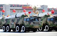 China&#39;s military shows off missiles during a parade in Beijing in 2009. China&#39;s nuclear weapons do not pose a &quot;direct threat&quot; to the United States, the man in charge of America&#39;s arsenal said Wednesday in calling for greater dialogue with the Chinese military