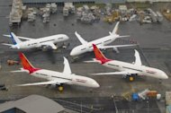 "In-production Boeing 787 Dreamliner aircraft for Air India and other airlines sit on the tarmac at the Boeing production facilities at Paine Field in Everett, Washington. Boeing said around 55 of its flagship 787 Dreamliners ""have the potential"" to develop a fuselage shimming problem, but reiterated that the fault was being fixed"