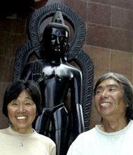 Japanese mountaineer Tamae Watanabe (L) with mountaineer and photographer Noriyuki Muraguchi in Kathmandu in 2004. Watanabe, who became the oldest woman to conquer Mount Everest a decade ago, smashed her own record when she climbed the world's highest peak from the Tibet side