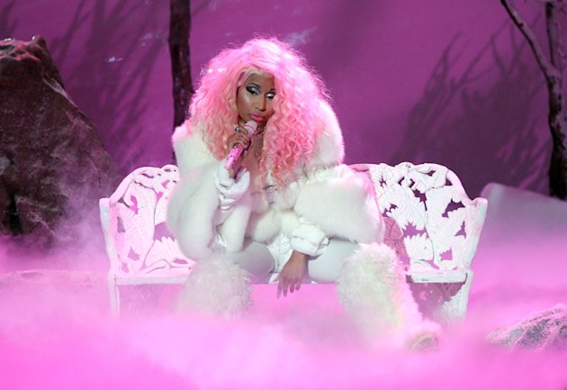 Nicki Minaj performs Freedom at the 40th Anniversary American Music Awards on Sunday, Nov. 18, 2012, in Los Angeles. (Photo by Matt Sayles/Invision/AP)