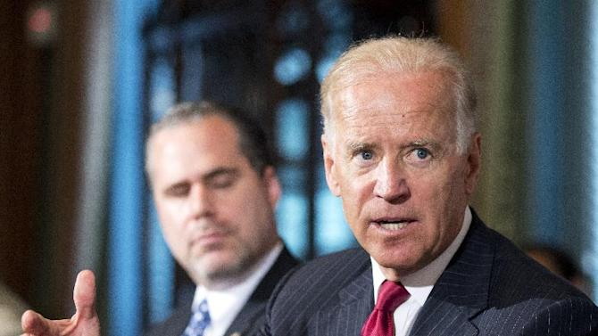 Vice President Joe Biden, speaks during a meeting with representatives of the law enforcement community to discuss immigration reform, in the Eisenhower Executive Office Building on the White House complex in Washington, Friday, July 19, 2013. Beside Biden is Jon Adler. (AP Photo/Manuel Balce Ceneta)