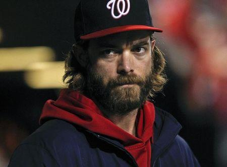 Washington Nationals Werth watches the game from the dugout during their MLB game against the St. Louis Cardinals in St. Louis