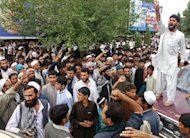 Afghan protesters shout slogans during an anti-NATO protest in Mihtarlam, Laghman province. NATO has been accused of killing eight women in an air strike, capping a black weekend in which six soldiers were shot dead by presumed Afghan colleagues and a Taliban assault caused unprecedented losses on one of the biggest military bases in the country