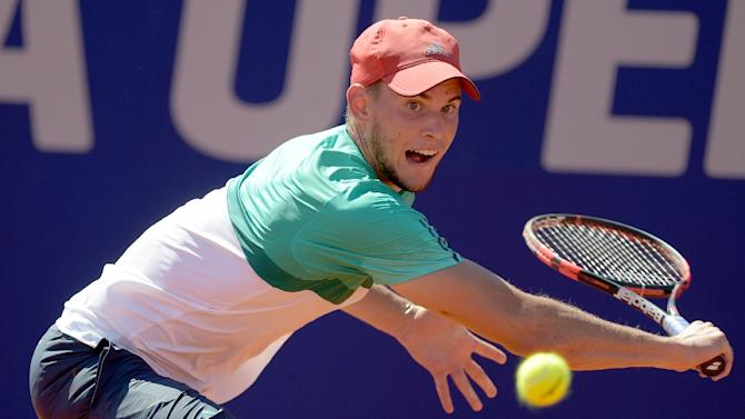 Austria's Dominic Thiem eyes the ball during his final tennis match against Spain's Nicolas Almagro at the ATP Argentina Open in Buenos Aires, Argentina, on February 14, 2016