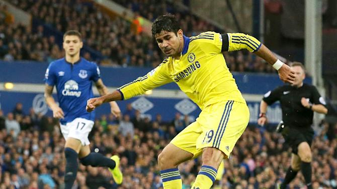 Striker Diego Costa scores Chelsea's sixth goal during the Premier League match against Everton at Goodison Park on August 30, 2014