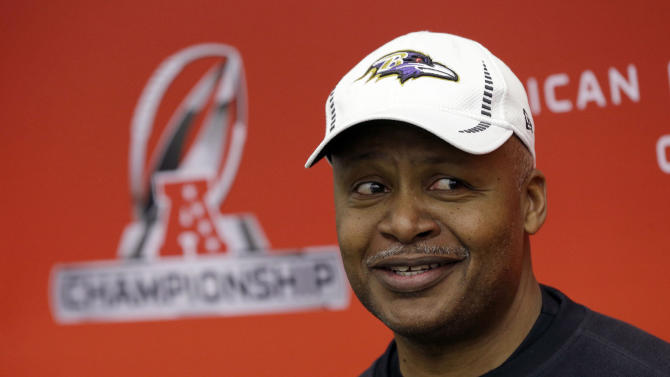 Baltimore Ravens offensive coordinator Jim Caldwell speaks during a news conference at the team's practice facility in Owings Mills, Md., Thursday, Jan. 17, 2013. The Ravens are scheduled to face the New England Patriots in the AFC Championship on Sunday. (AP Photo/Patrick Semansky)