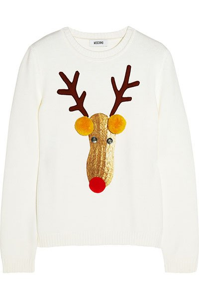 Moschino reindeer appliqued knitted wool sweater, $695, net-a-porter.com