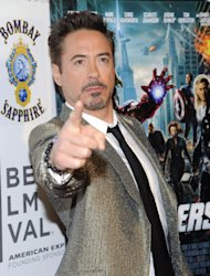 "Actor Robert Downey Jr. attends the premiere of ""The Avengers"" during the 2012 Tribeca Film Festival on Saturday, April 28, 2012 in New York. (AP Photo/Evan Agostini)"