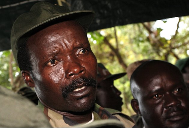 FILE - In this Nov. 12, 2006 file photo, the leader of the Lord's Resistance Army Joseph Kony answers journalists' questions following a meeting with UN humanitarian chief Jan Egeland at Ri-Kwangba in