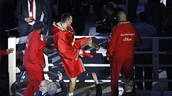 Wladimir Klitschko as he enters the ring before the start of the fight