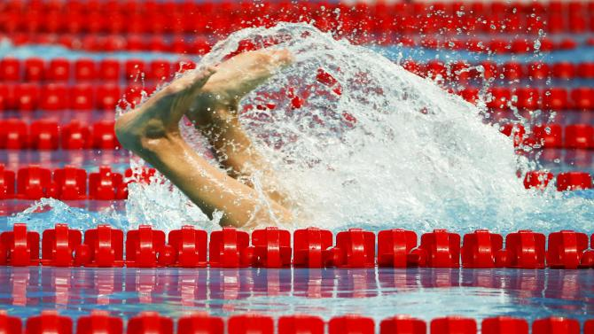 Croatia's Saemundsson makes a turn during the men's 400m freestyle heats at the Aquatics World Championships in Kazan